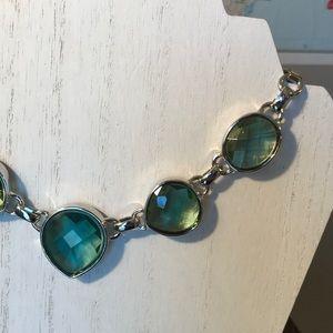 New AK Anne Klein Blue Green statement necklace
